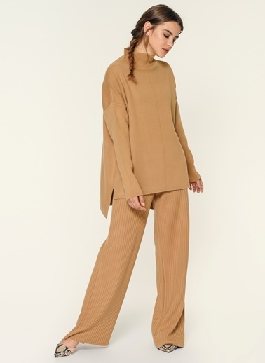 Loves You Yarım Balıkçı Modal Triko Kazak Takım Üst Camel